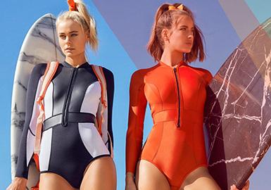 2019 S/S Styling for Women's Swimwear -- Sporty Decoration