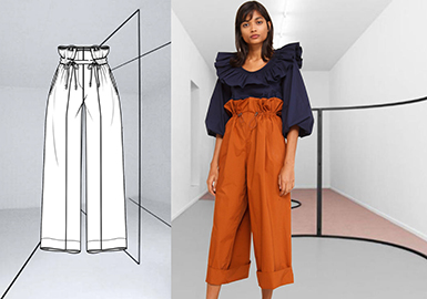 2019 S/S Styling for Women's Wide-leg Trousers -- Romantic Feminism