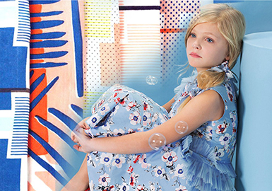 2019 S/S Fabric for Girls' Clothing -- Natural Print