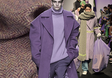 18/19 A/W Color for Men's Coat on Catwalk (1) -- Cool-tone Wool