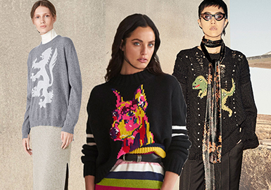 19/20 A/W Women's Knitwear Pattern Trend Forecast -- Animal Takeover