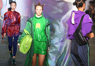 Colorful Neon -- 2019 S/S Material Trend for Women's Sports Coat on Catwalk