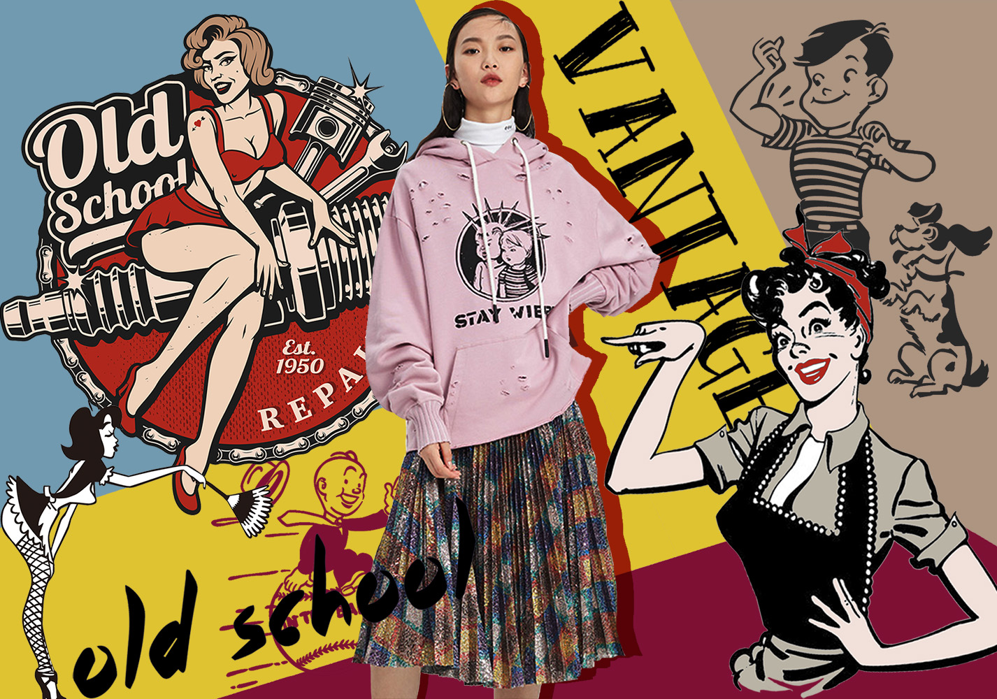Vintage Cartoon Illustrations -- 2020 Pre-fall Pattern Trend for Womenswear