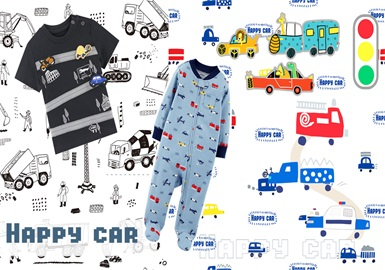 Happy Car -- 2020 Pre-fall Pattern Trends of Clothing of Infants and Kids