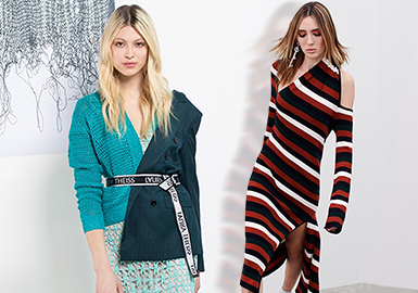 Visual Blocking of Cutting -- The Craft Trend for Women's Knitwear